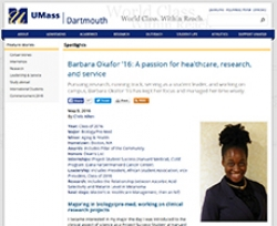 Barbara Okafor a former participant in the Project Success program | UMass Dartmouth News