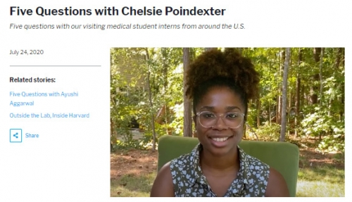 Five Questions with Chelsie Poindexter Five questions with our visiting medical student interns from around the U.S.