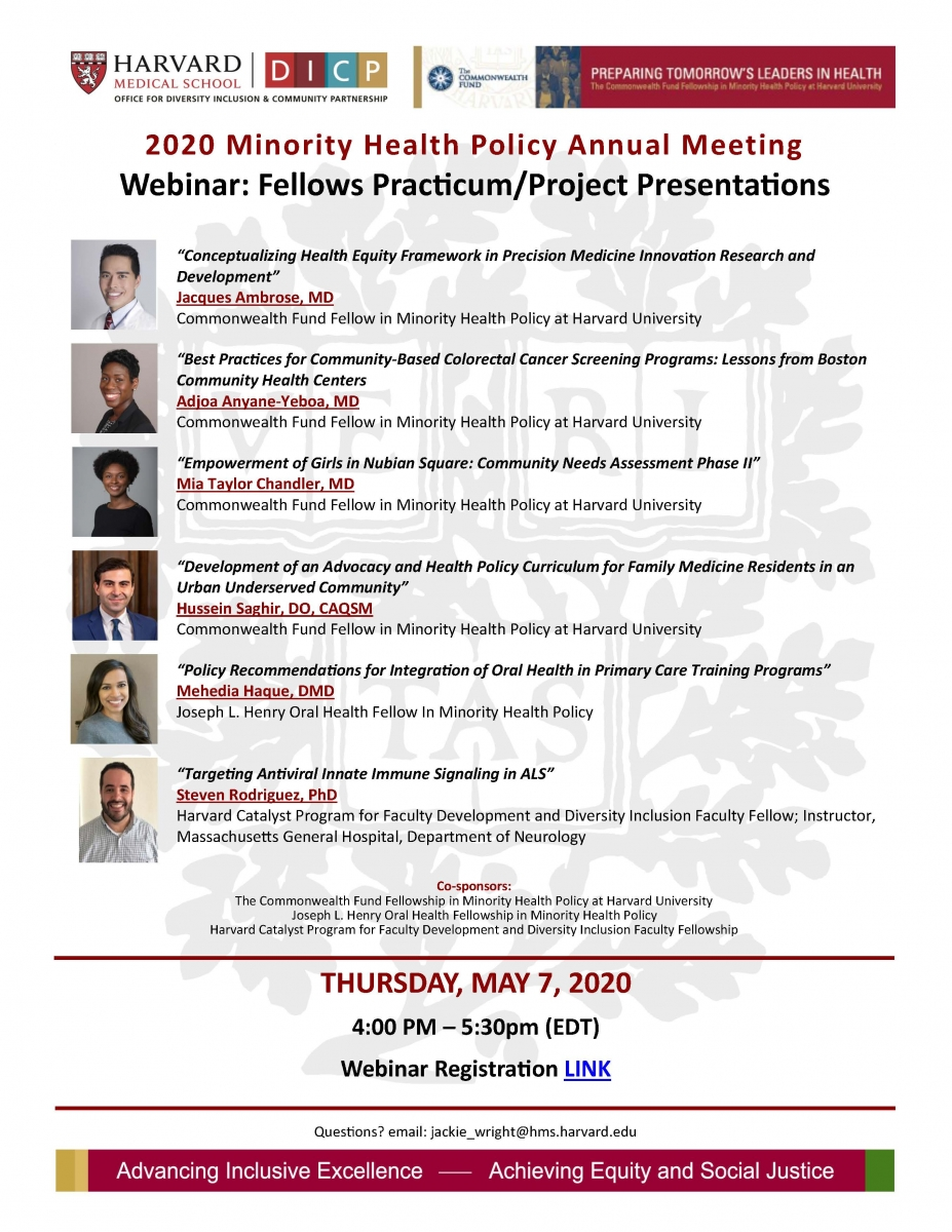 2020 Minority Health Policy Annual Meeting Webinar: Fellows Practicum / Project Presentations